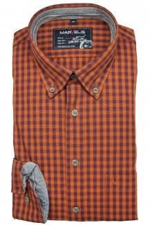 Marvelis Casual modern fit Hemd Button-Down Karo rubin-orange