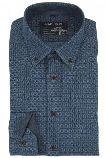 Marvelis Hemd Casual modern fit Button-Down Muster blau