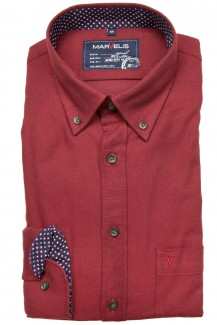 Marvelis Hemd Casual modern fit Button-Down Feinflanell gemustert rot