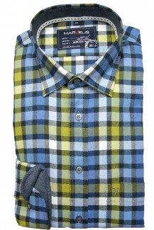 Marvelis Hemd Casual modern fit Kent Feinflanell Karo mais-blau