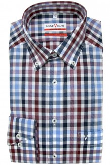 Marvelis modern fit Hemd Button-Down Karo blau-rot