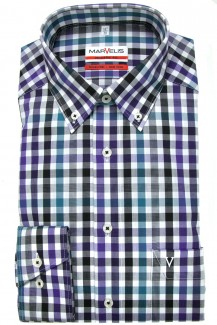 Marvelis modern fit Hemd Button-Down Karo grün-schwarz