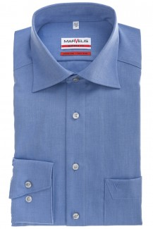 Marvelis modern fit Hemd New Kent Chambray mittelblau