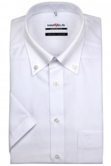 Marvelis comfort fit Kurzarm Hemd Button-Down weiß