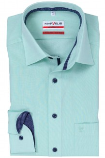 Marvelis modern fit Hemd 69er-Arm New Kent Chambray mint