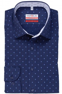 Marvelis modern fit Hemd 69er-Arm New Kent Punkte mit Pünktchen marine-royal