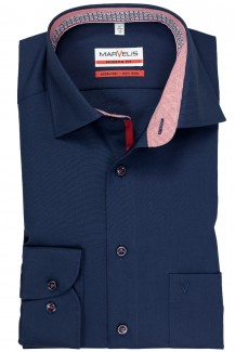 Marvelis modern fit Hemd 69er-Arm New Kent roter Patch marine