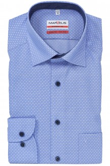 Marvelis modern fit Hemd 69er-Arm Under Button-Down in sich gemustert bleu