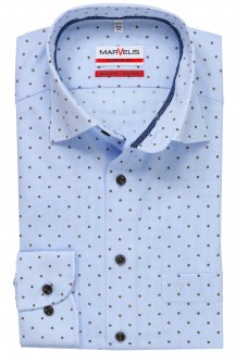 Marvelis modern fit Hemd 69er-Arm Under Button-Down Vichykaro mit Scherli bleu-braun