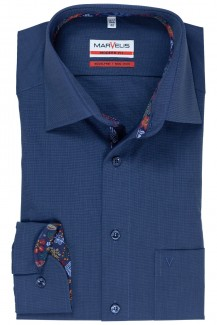 Marvelis modern fit Hemd New Kent floraler Patch stahlblau