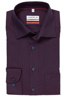 Marvelis modern fit Hemd New Kent Pinpoint Struktur bordo