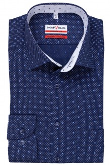Marvelis modern fit Hemd New Kent Punkte mit Pünktchen marine-royal