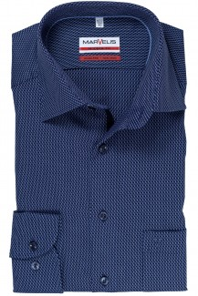 Marvelis modern fit Hemd New Kent Striche royal-marine