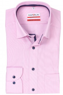 Marvelis modern fit Hemd Under Button-Down Minikaro hellrose-weiß