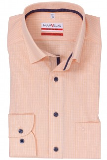 Marvelis modern fit Hemd Under Button-Down Minikaro orange-weiß
