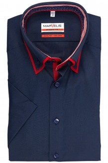 Marvelis modern fit Kurzarm Hemd Doppelkragen Button-Down in marine