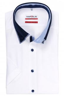 Marvelis modern fit Kurzarm Hemd Doppelkragen Button-Down in weiß