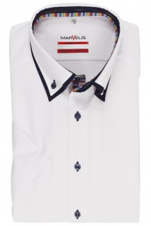 Marvelis modern fit Kurzarm Hemd Doppelkragen Button Down Streifen Patch weiß
