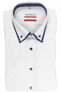 Marvelis modern fit Kurzarm Hemd Doppelkragen Button-Down weiß