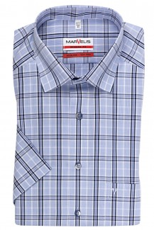 Marvelis modern fit Kurzarm Hemd Under Button-Down Karo bleu-marine