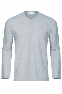 Mey Club Langarm Shirt Knopfleiste in light grey melange