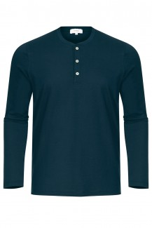 Mey Club Langarm Shirt Knopfleiste in yacht blue