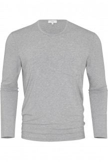 Mey Club Langarm Shirt Modal Rundhals Jefferson light grey melange
