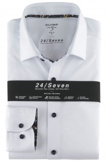 OLYMP 24/Seven Level Five body fit Jersey Hemd New York Kent Diagonal Muster weiß