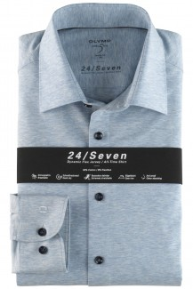 OLYMP 24/Seven Level Five body fit Jersey Hemd New York Kent bleu melange