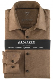 OLYMP 24/Seven Level Five body fit Jersey Hemd New York Kent braun melange
