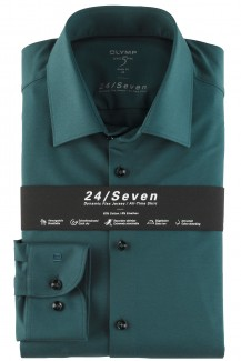 OLYMP 24/Seven Level Five body fit Jersey Hemd New York Kent dunkelgrün