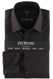 OLYMP 24/Seven Level Five body fit Jersey Hemd New York Kent schwarz