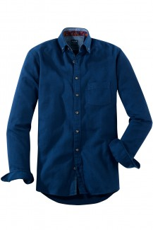 OLYMP Casual modern fit Hemd Button-Down Flanell Fischgrät marine