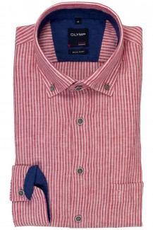 OLYMP Casual modern fit Hemd Button-Down Leinen Streifen cherry-weiß