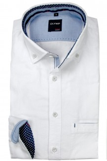 OLYMP Casual modern fit Hemd Button-Down Oxford weiß