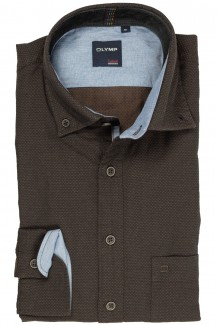 OLYMP Casual modern fit Hemd Button-Down Twill in sich gemustert braun