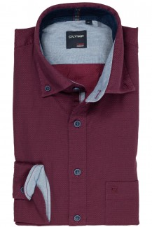 OLYMP Casual modern fit Hemd Button-Down Twill in sich gemustert merlot