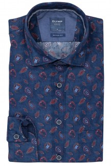OLYMP Casual modern fit Hemd Kent Glencheck mit Paisley jeansblau-weinrot