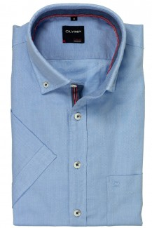 OLYMP Casual modern fit Kurzarm Hemd Button-Down Struktur bleu