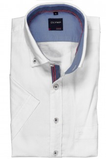 OLYMP Casual modern fit Kurzarm Hemd Button-Down Struktur weiß