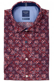 OLYMP Casual modern fit Kurzarm Hemd Kent Florales Muster rot-marine
