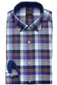 OLYMP Level Five body fit Hemd 69er-Arm Button-Down Twill Karo braun-pflaume