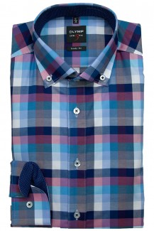 OLYMP Level Five body fit Hemd 69er-Arm Button-Down Twill Karo rosa-blau