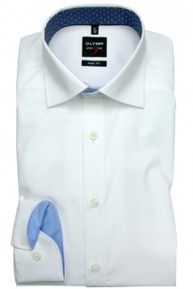 OLYMP Level Five body fit Hemd 69er-Arm Under Button-Down Twill weiß