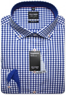 OLYMP Hemd Level Five body fit Button-Down Karo blau