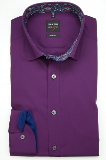 OLYMP Level Five body fit Hemd Under Button-Down Chambray Patch plum