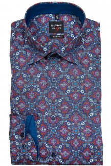 OLYMP Level Five body fit Hemd Under Button-Down Ornament Druck blau-sienna
