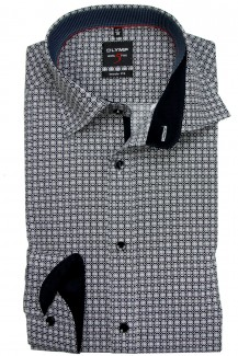 OLYMP Level Five body fit Hemd Under Button-Down Ringe schwarz-weiß