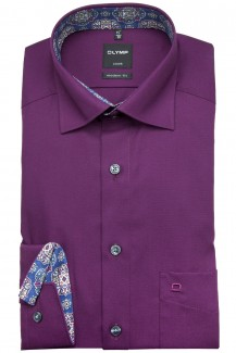 OLYMP Luxor modern fit Hemd Under Button-Down Chambray plum