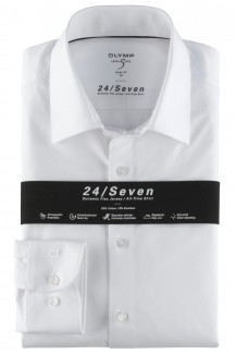 OLYMP 24/Seven Level Five body fit Jersey Hemd 69er-Arm weiß